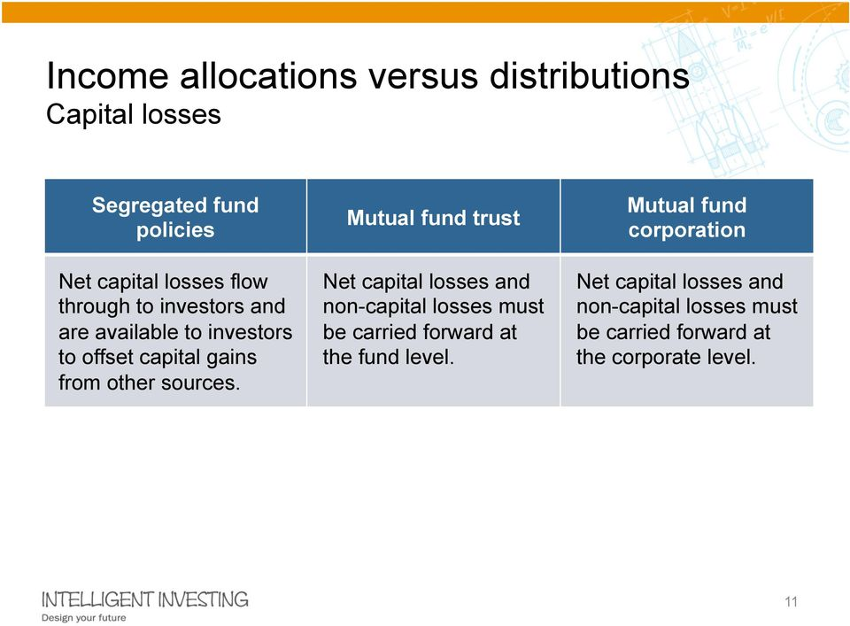 Mutual fund trust Net capital losses and non-capital losses must be carried forward at the fund level.