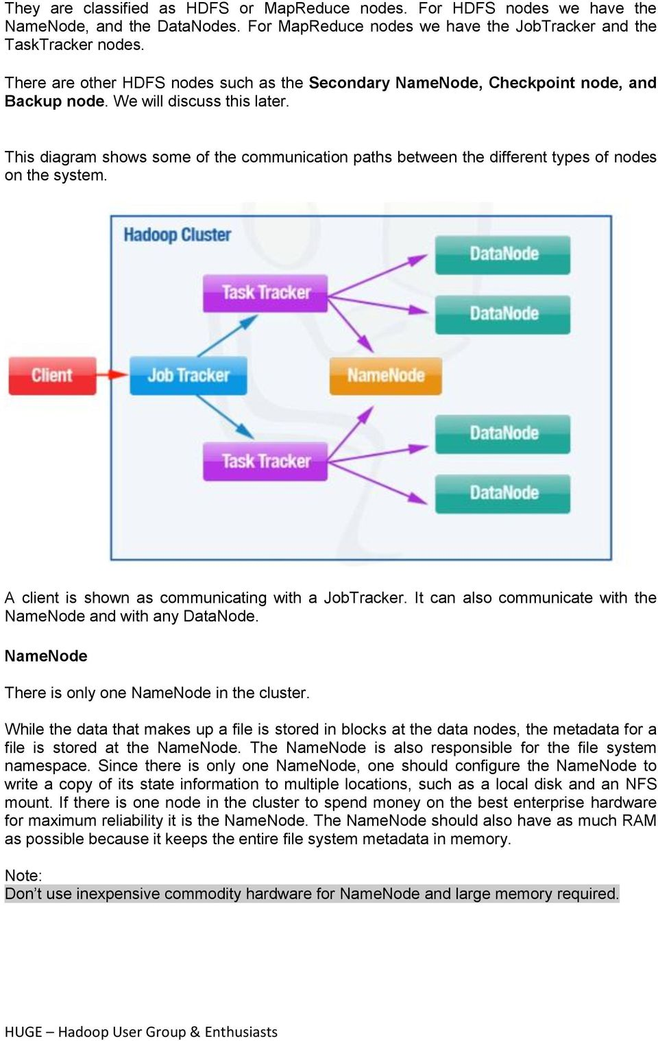 This diagram shows some of the communication paths between the different types of nodes on the system. A client is shown as communicating with a JobTracker.