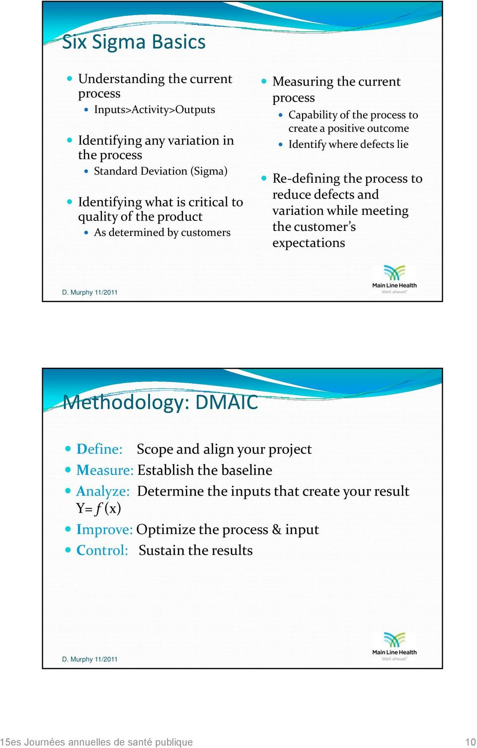 defects lie Re defining the process to reduce defects and variation while meeting the customer s expectations Methodology: DMAIC Define: Scope and align your