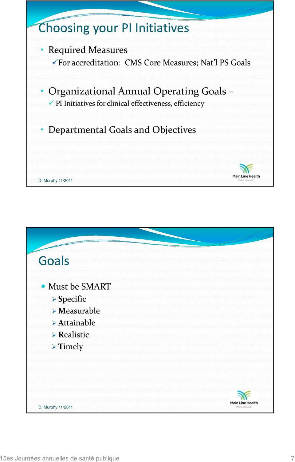 Annual Operating Goals PI Initiatives for clinical effectiveness, efficiency