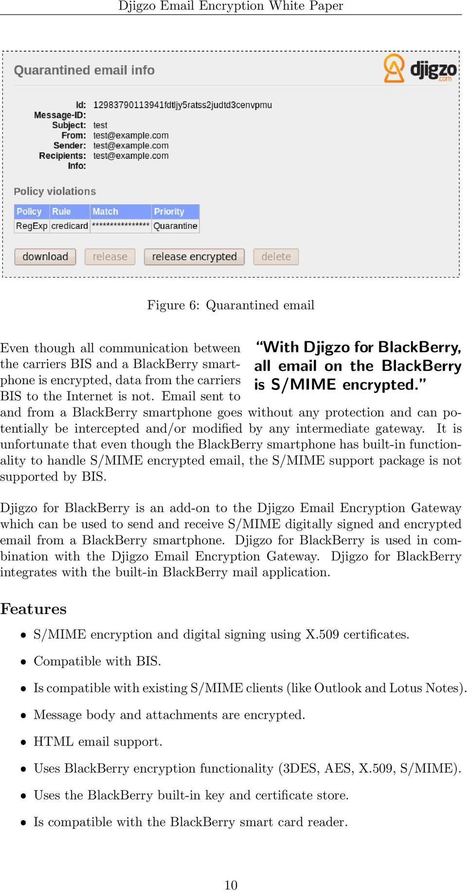 Email sent to and from a BlackBerry smartphone goes without any protection and can potentially be intercepted and/or modified by any intermediate gateway.