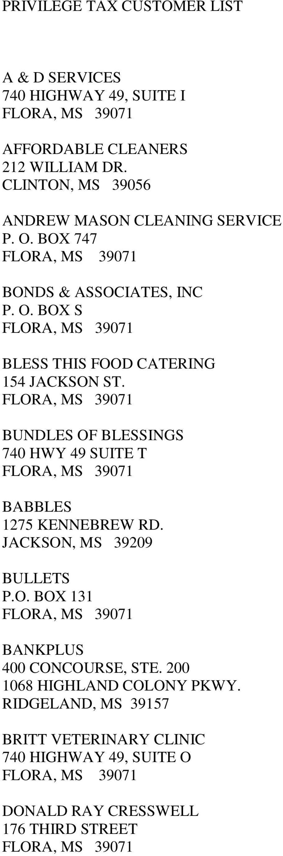 BUNDLES OF BLESSINGS 740 HWY 49 SUITE T BABBLES 1275 KENNEBREW RD. JACKSON, MS 39209 BULLETS P.O. BOX 131 BANKPLUS 400 CONCOURSE, STE.