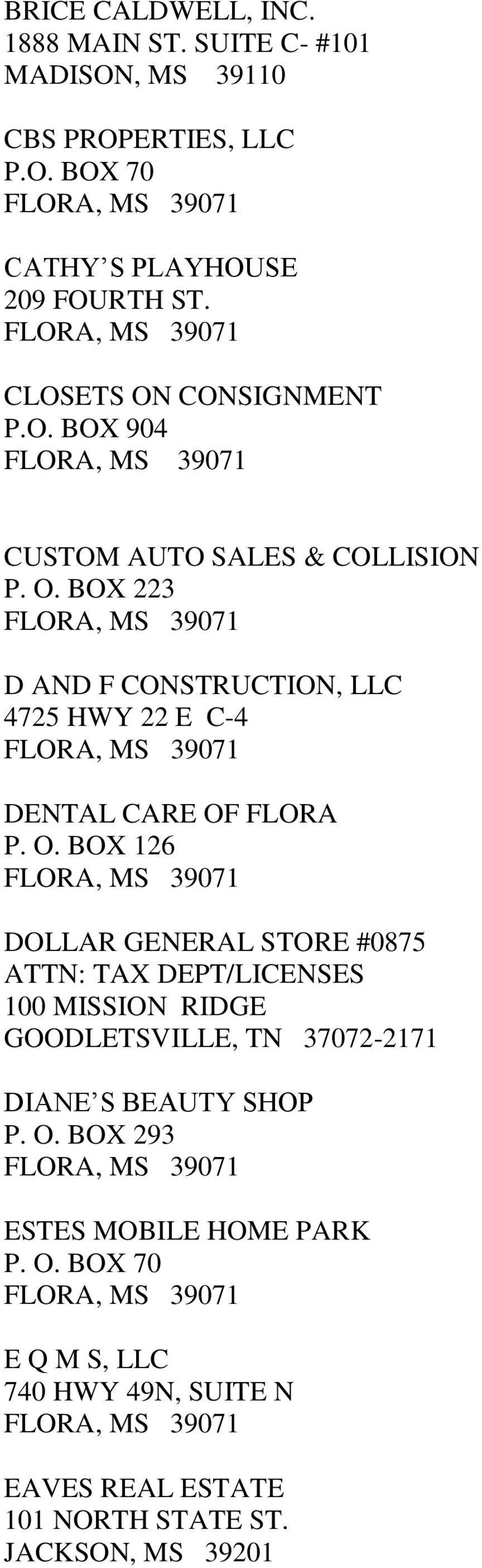 O. BOX 126 DOLLAR GENERAL STORE #0875 ATTN: TAX DEPT/LICENSES 100 MISSION RIDGE GOODLETSVILLE, TN 37072-2171 DIANE S BEAUTY SHOP P. O.