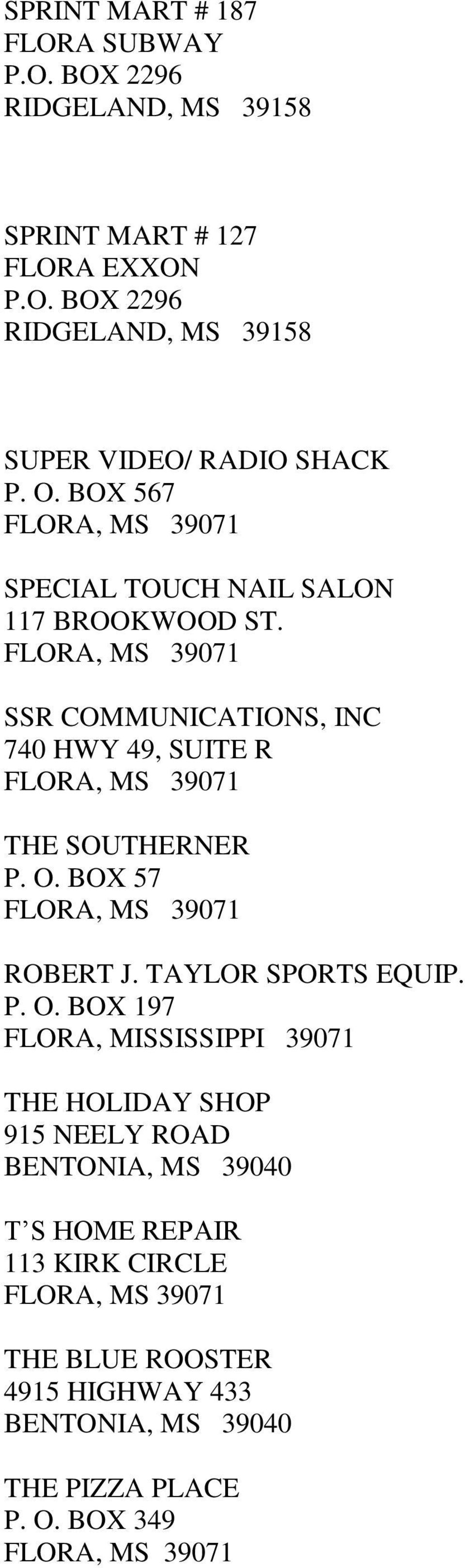 BOX 57 ROBERT J. TAYLOR SPORTS EQUIP. P. O.