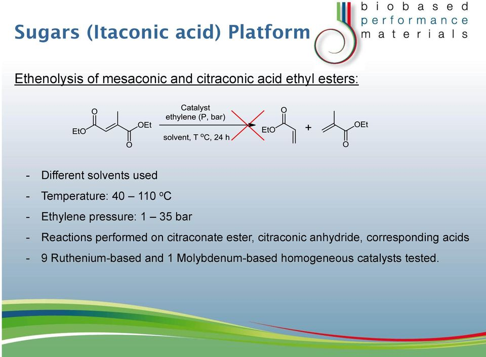 35 bar - Reactions performed on citraconate ester, citraconic anhydride,