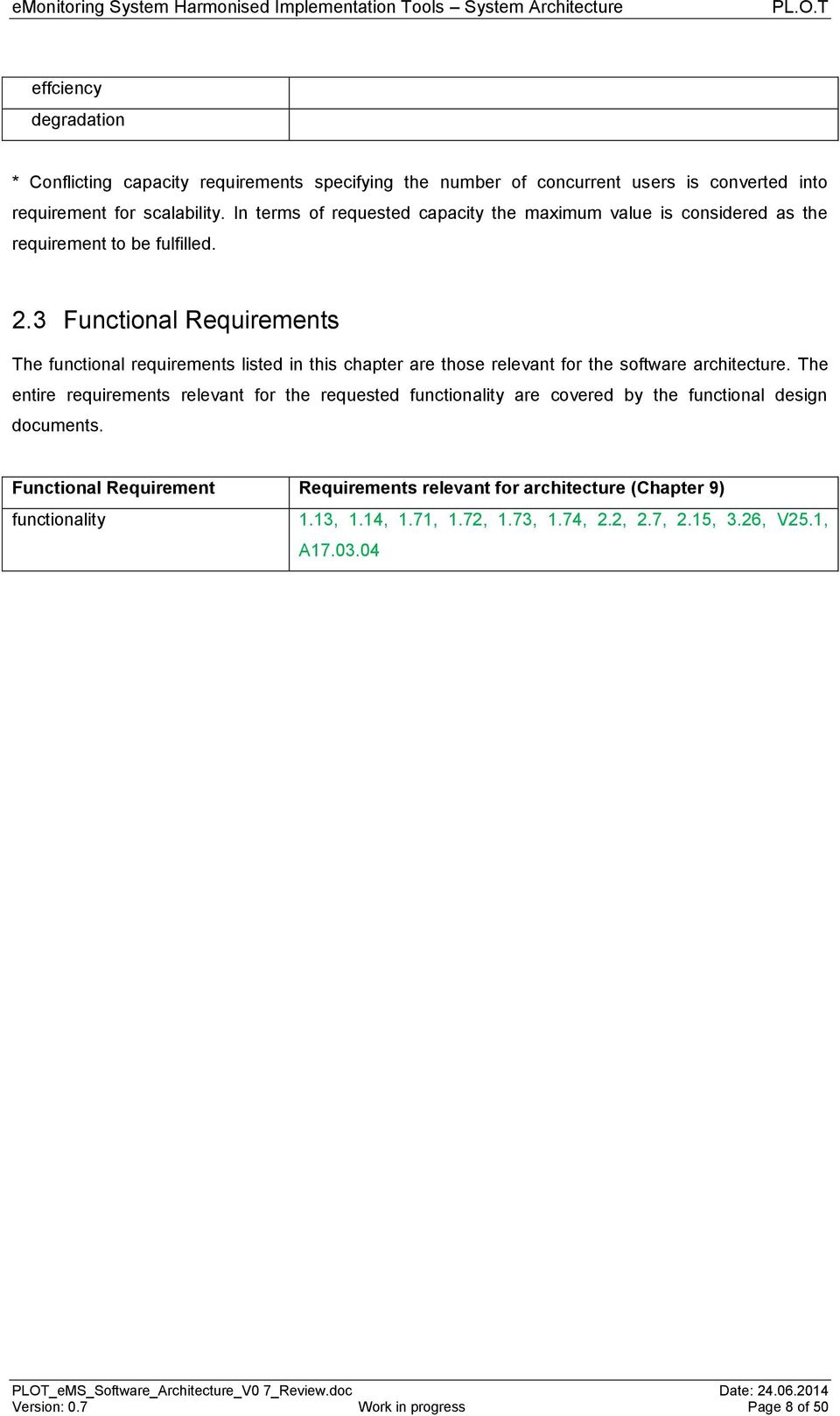 3 Functional Requirements The functional requirements listed in this chapter are those relevant for the software architecture.