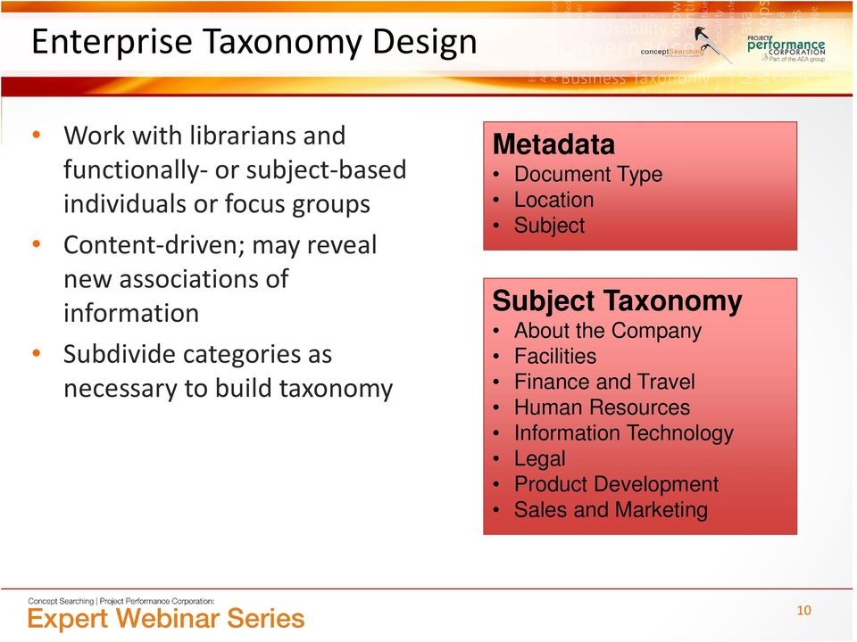 build taxonomy Metadata Document Type Location Subject Subject Taxonomy About the Company Facilities