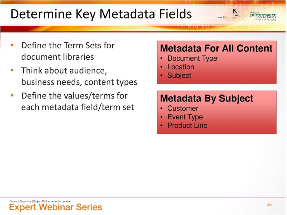 values/terms for each metadata field/term set Metadata For All Content