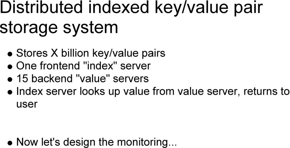 "backend ""value"" servers Index server looks up value from"