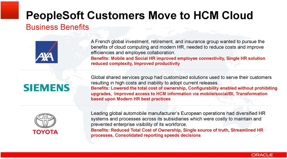 Benefits: Mobile and Social HR improved employee connectivity, Single HR solution reduced complexity, Improved productivity Global shared services group had customized solutions used to serve their