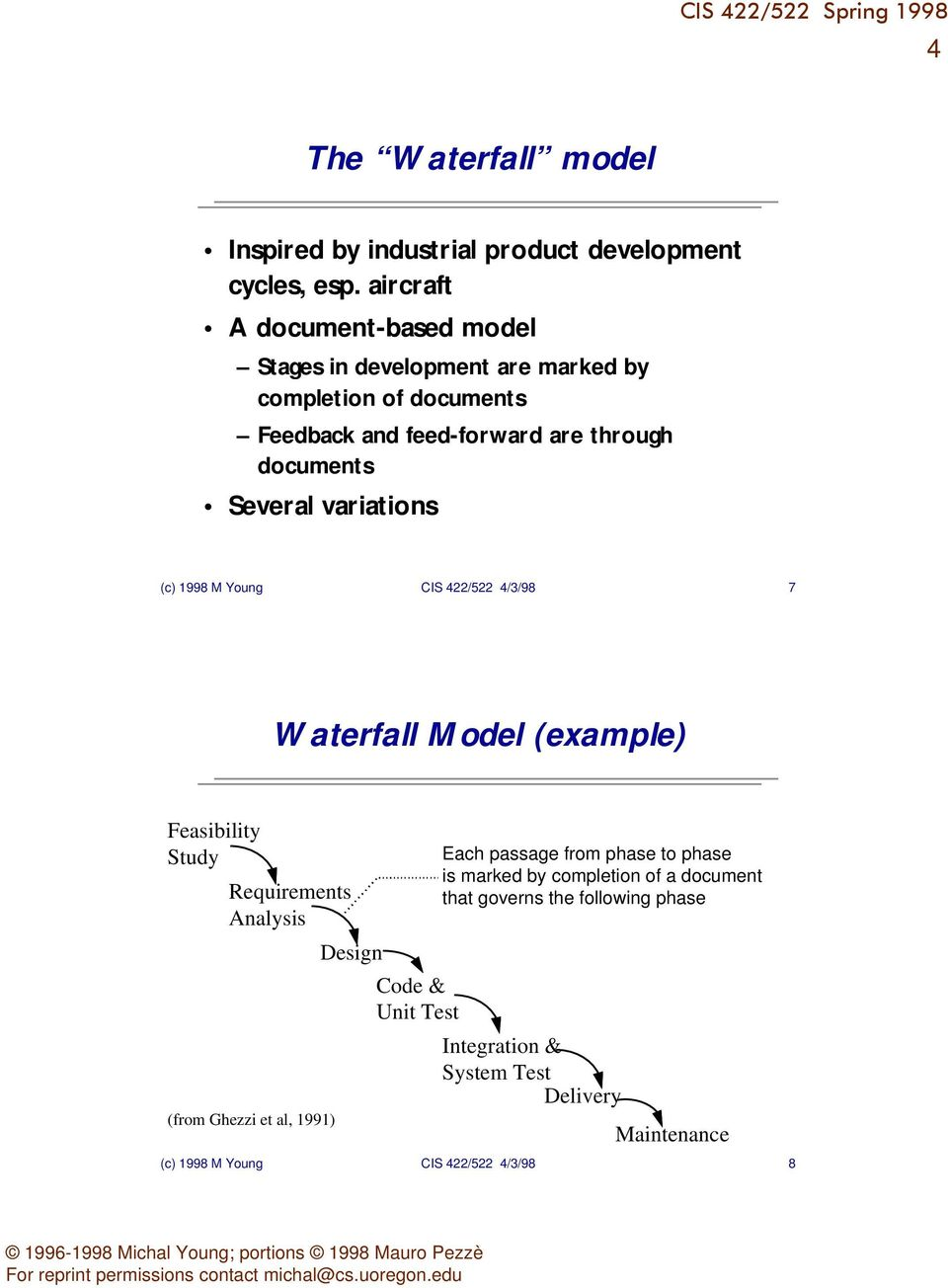 Several variations (c) 1998 M Young CIS 422/522 4/3/98 7 Waterfall Model (example) Feasibility Study Requirements Analysis Design (from Ghezzi