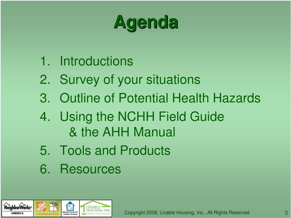 Outline of Potential Health Hazards 4.