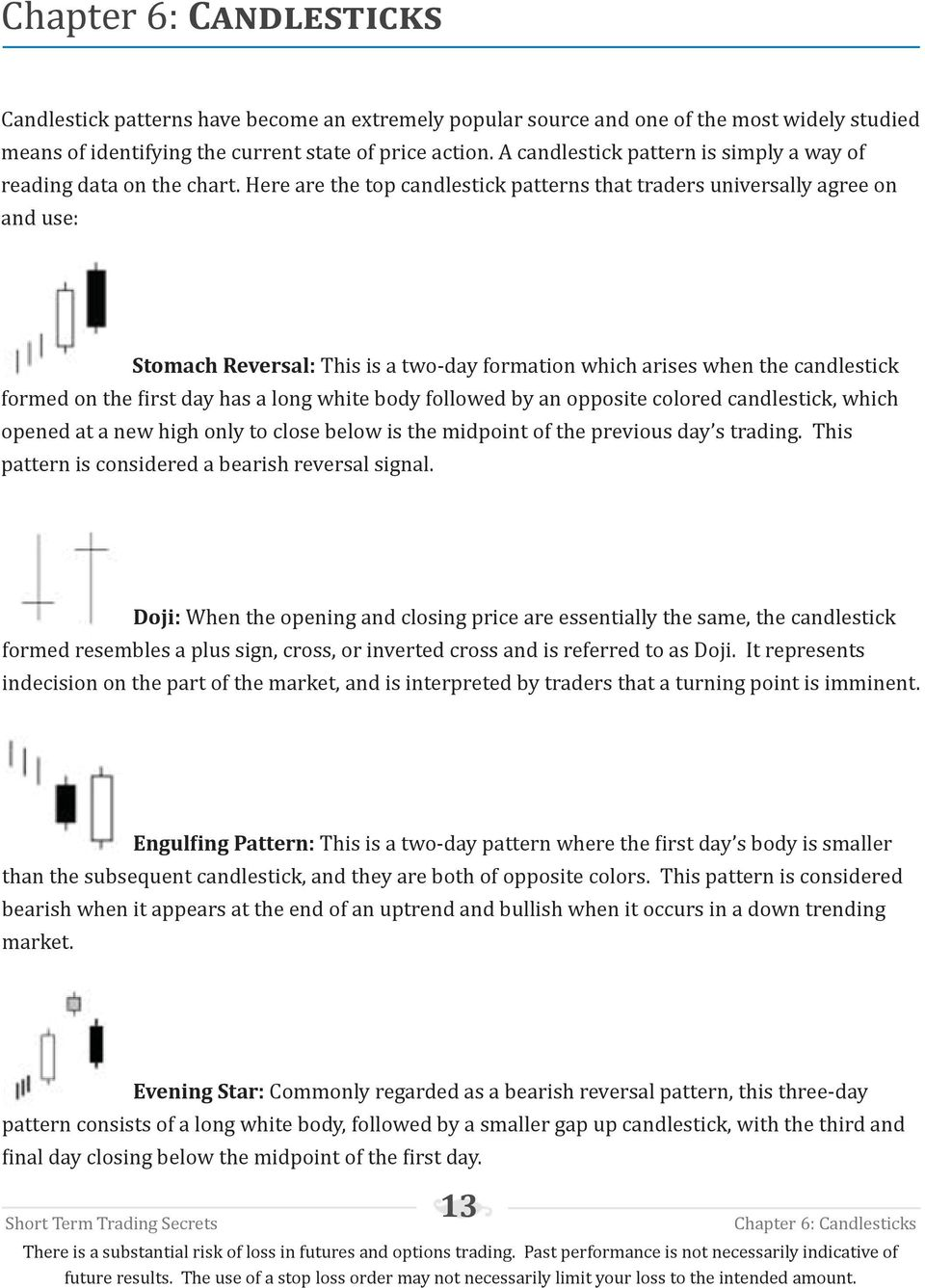 Here are the top candlestick patterns that traders universally agree on and use: Stomach Reversal: This is a two-day formation which arises when the candlestick formed on the first day has a long