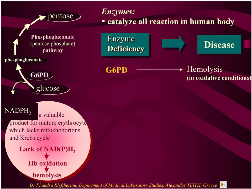 Disease Hemolysis (in oxidative conditions) NADPH 2 a valuable product for mature