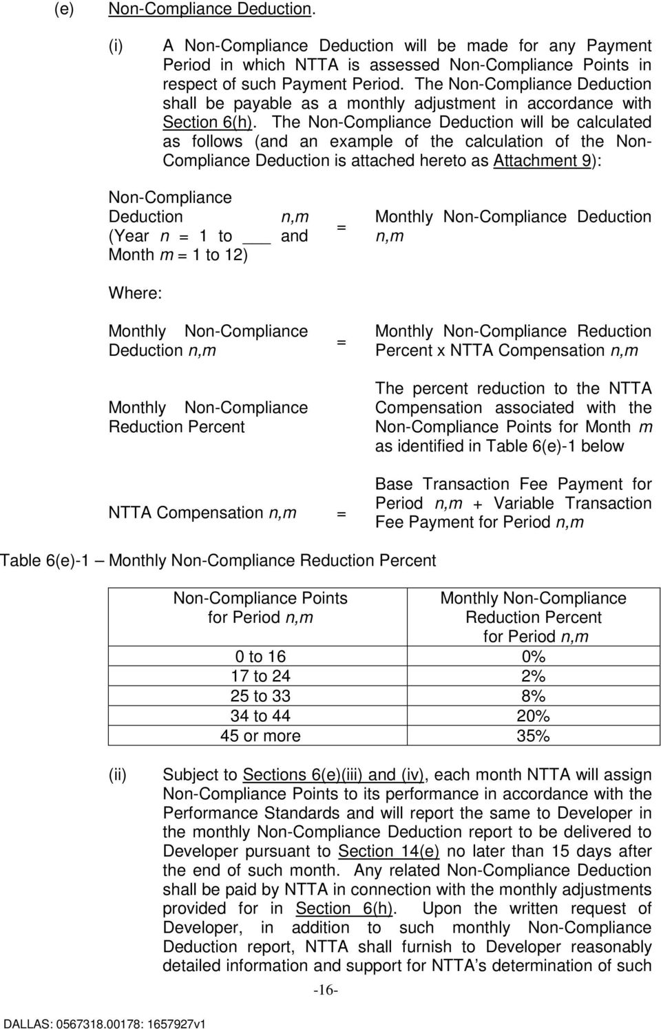The Non-Compliance Deduction will be calculated as follows (and an example of the calculation of the Non- Compliance Deduction is attached hereto as Attachment 9): Non-Compliance Deduction n,m (Year