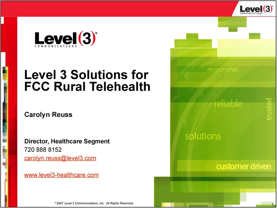 carolyn.reuss@level3.com www.level3-healthcare.