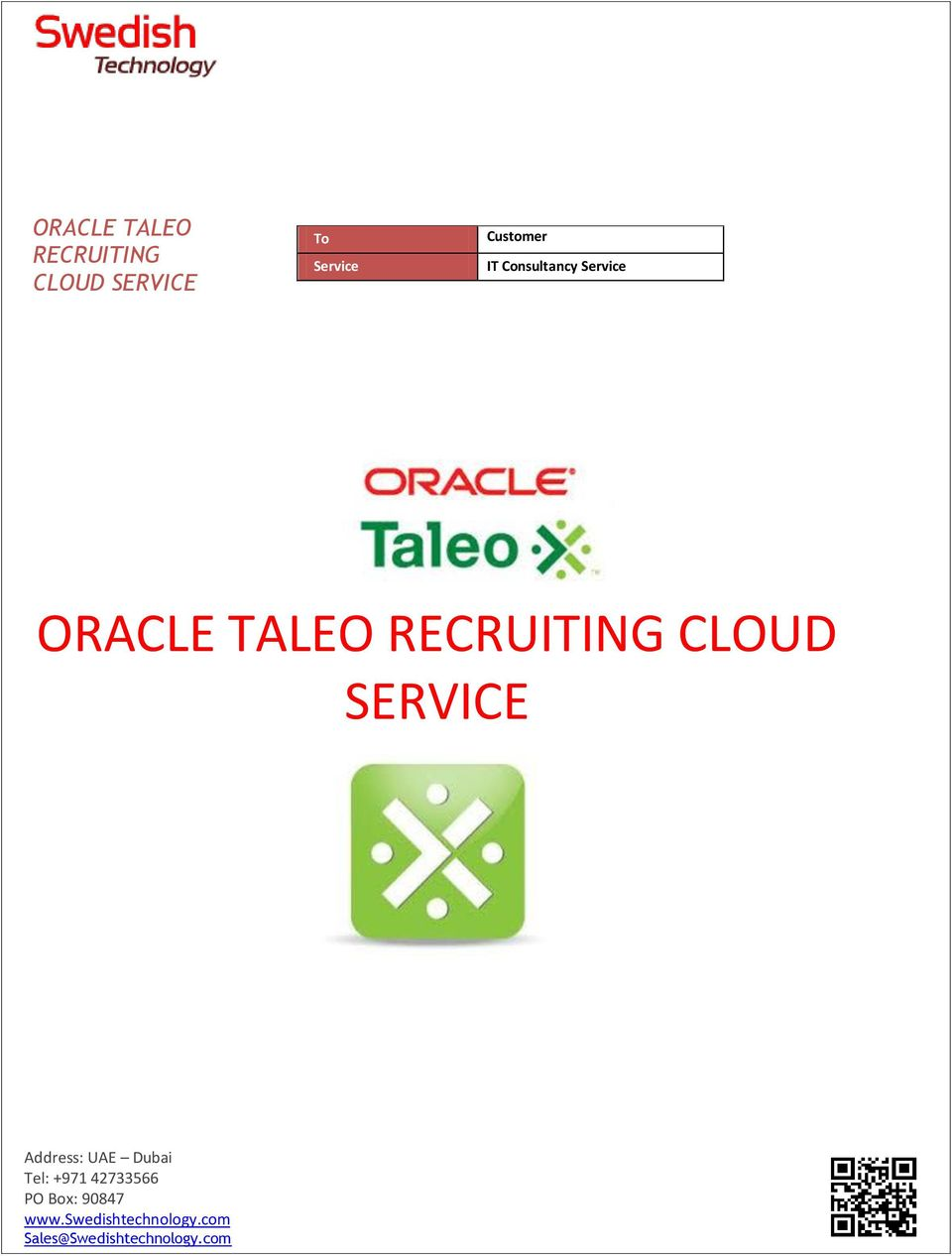 Consultancy Service ORACLE TALEO RECRUITING CLOUD
