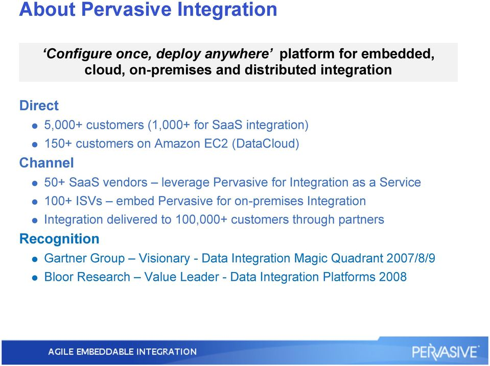 Integration as a Service 100+ ISVs embed Pervasive for on-premises Integration Integration delivered to 100,000+ customers through