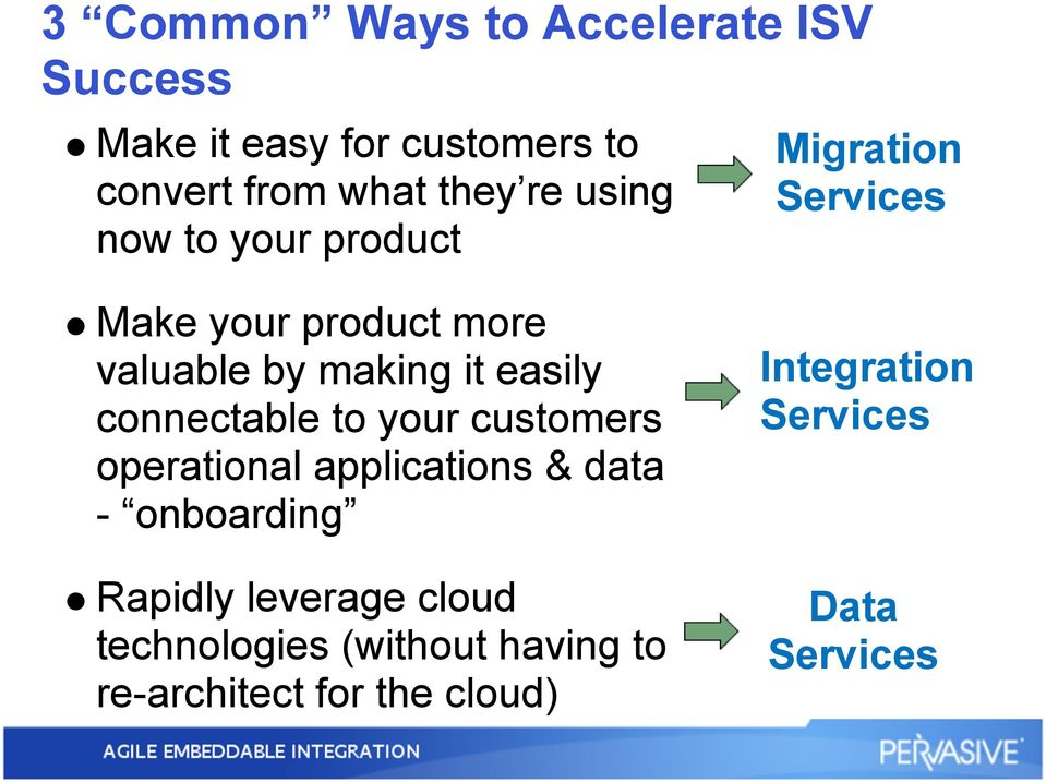 your customers operational applications & data - onboarding Rapidly leverage cloud technologies