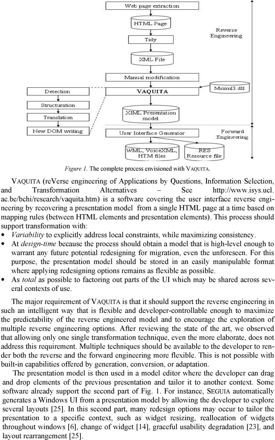 htm) is a software covering the user interface reverse engineering by recovering a presentation model from a single HTML page at a time based on mapping rules (between HTML elements and presentation