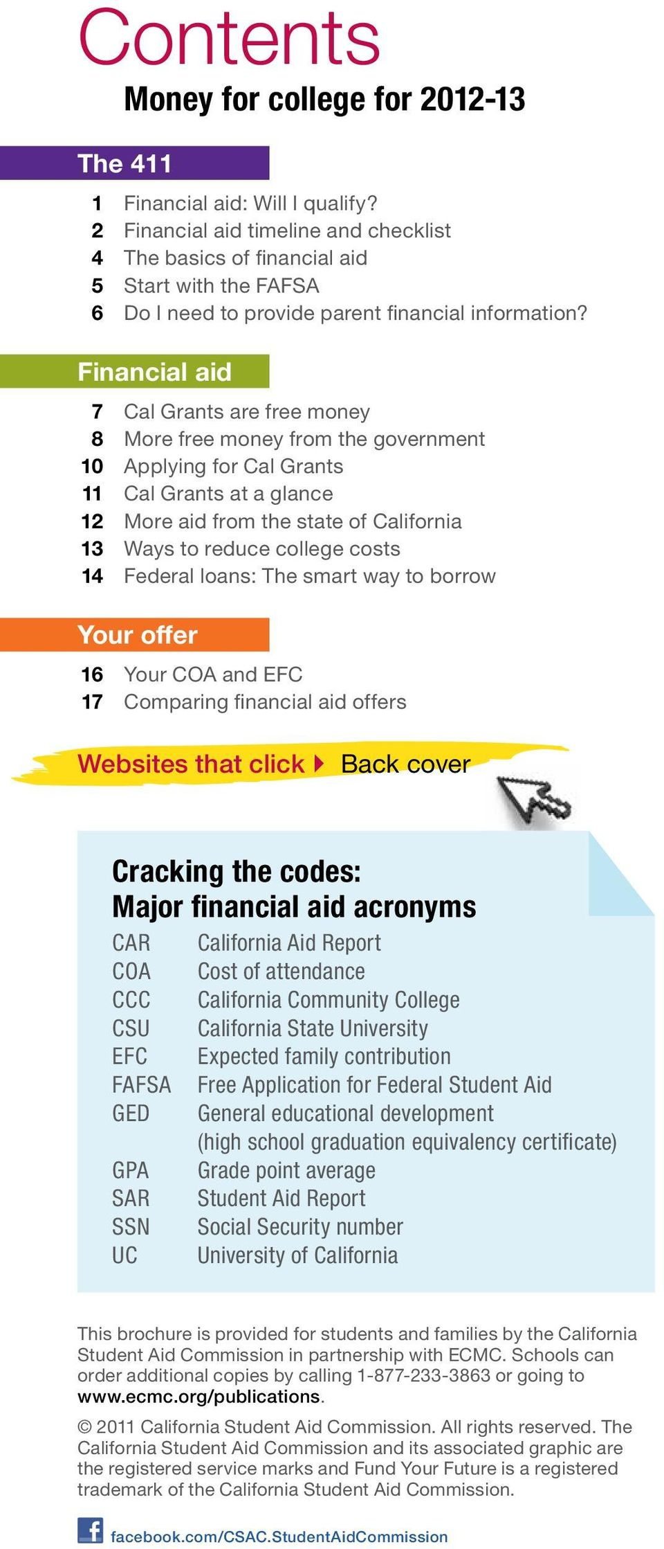 Financial aid 7 Cal Grants are free money 8 More free money from the government 10 Applying for Cal Grants 11 Cal Grants at a glance 12 More aid from the state of California 13 Ways to reduce college