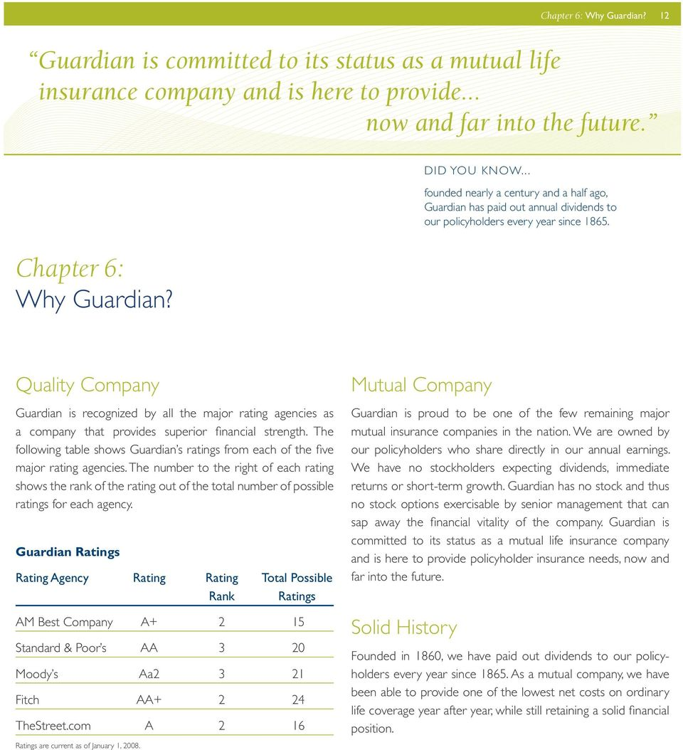 Quality Company Guardian is recognized by all the major rating agencies as a company that provides superior financial strength.