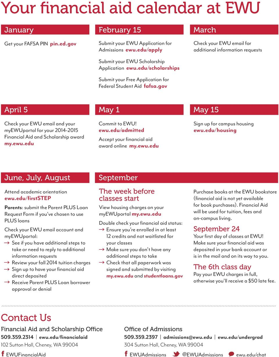 gov March Check your EWU email for additional information requests April 5 May 1 May 15 Check your EWU email and your myewuportal for your 2014-2015 Financial Aid and Scholarship award my.ewu.edu Commit to EWU!