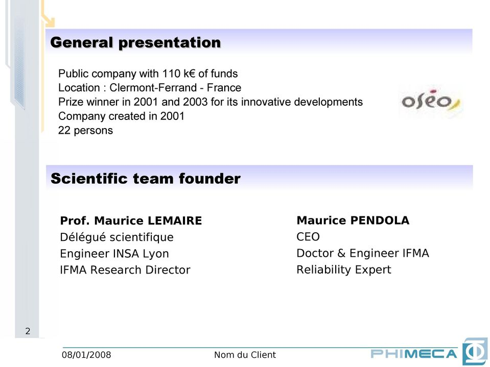2001 22 persons Scientific team founder Maurice PENDOLA CEO Doctor & Engineer IFMA