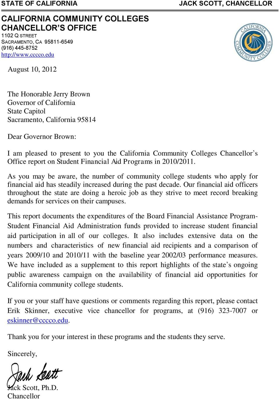 Chancellor s Office report on Student Financial Aid Programs in 2010/2011.