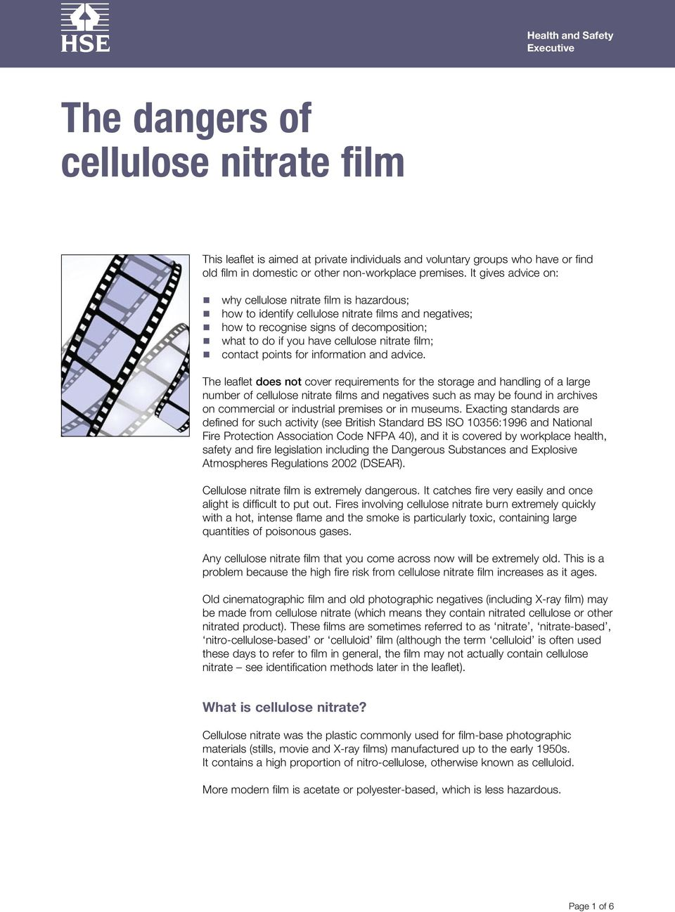 film; contact points for information and advice.