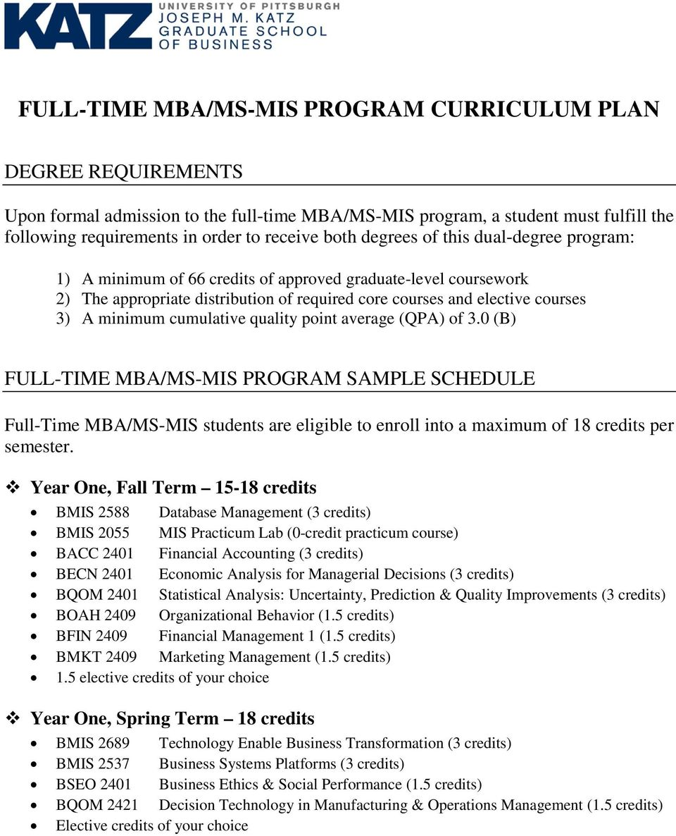 cumulative quality point average (QPA) of 3.0 (B) FULL-TIME MBA/MS-MIS PROGRAM SAMPLE SCHEDULE Full-Time MBA/MS-MIS students are eligible to enroll into a maximum of 18 credits per semester.