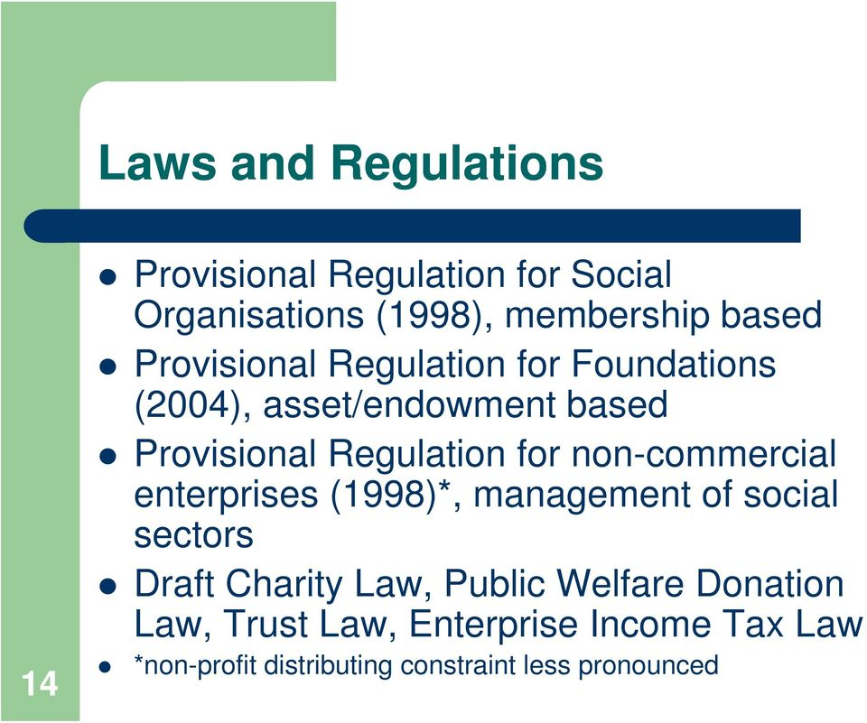 non-commercial enterprises (1998)*, management of social sectors Draft Charity Law, Public Welfare