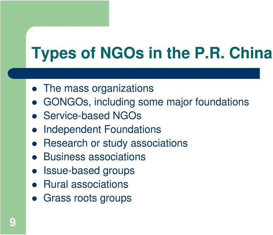 foundations Service-based NGOs Independent Foundations