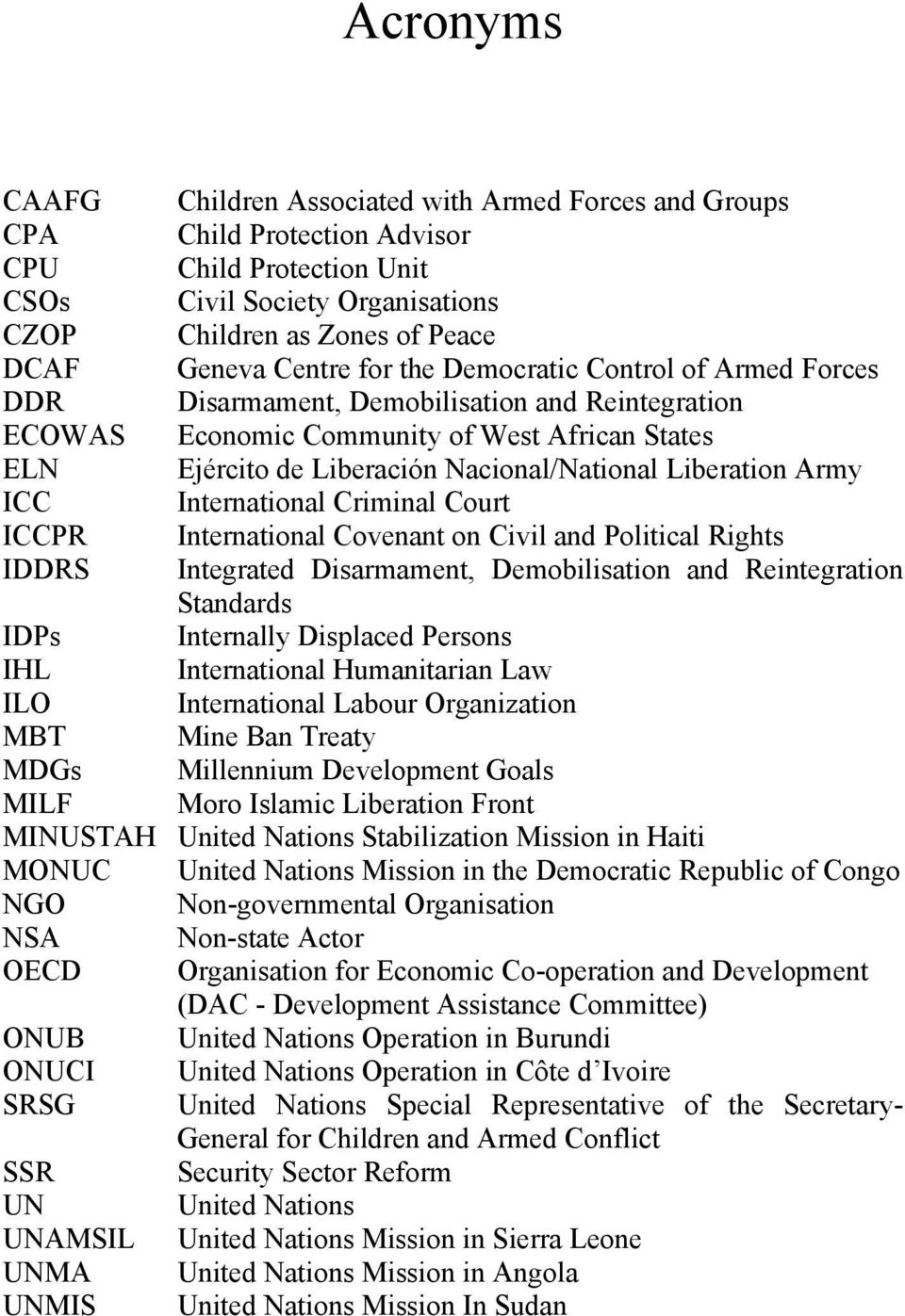 Liberation Army ICC International Criminal Court ICCPR International Covenant on Civil and Political Rights IDDRS Integrated Disarmament, Demobilisation and Reintegration Standards IDPs Internally