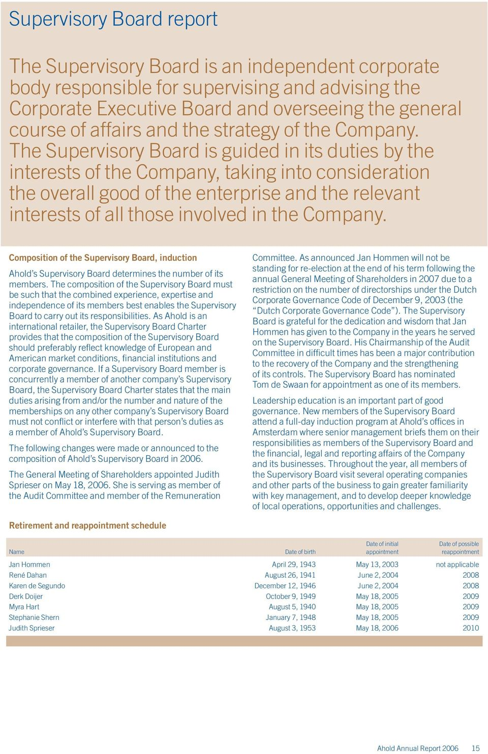 The Supervisory Board is guided in its duties by the interests of the Company, taking into consideration the overall good of the enterprise and the relevant interests of all those involved in the