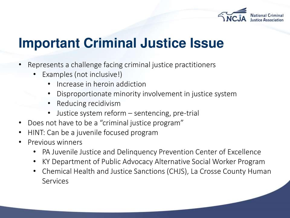 pre-trial Does not have to be a criminal justice program HINT: Can be a juvenile focused program Previous winners PA Juvenile Justice and