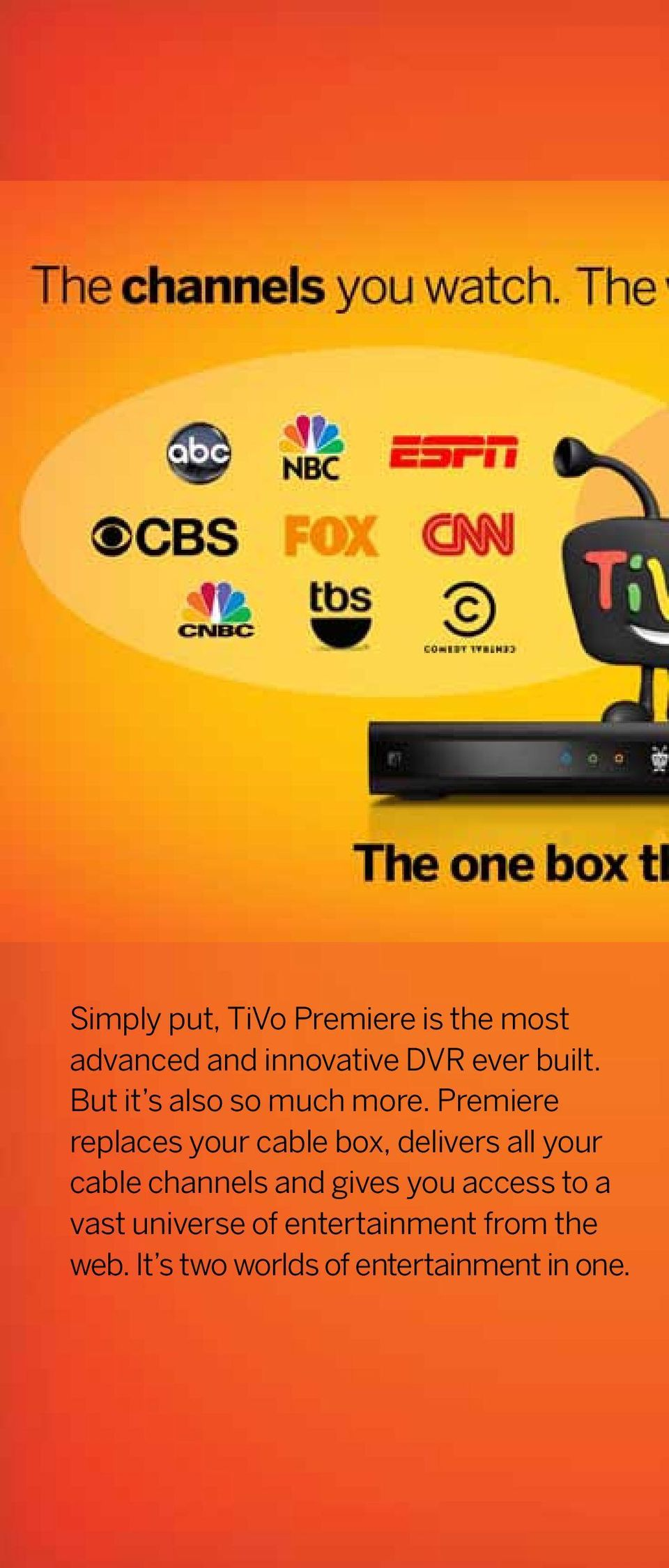 Premiere replaces your cable box, delivers all your cable channels and