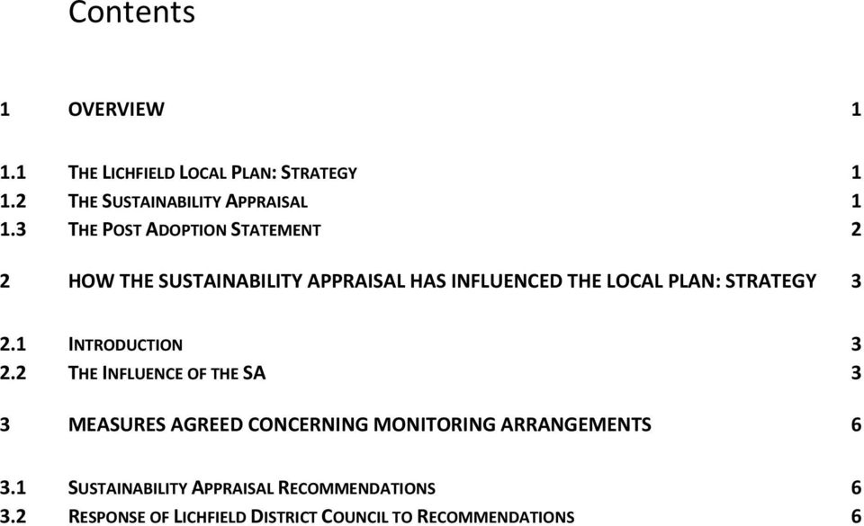 3 THE POST ADOPTION STATEMENT 2 2 HOW THE SUSTAINABILITY APPRAISAL HAS INFLUENCED THE LOCAL PLAN: