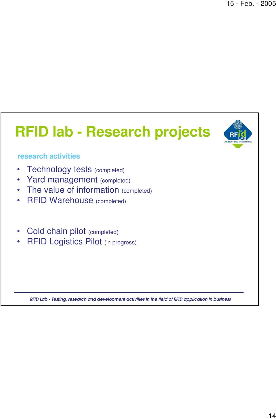 The value of information (completed) RFID Warehouse