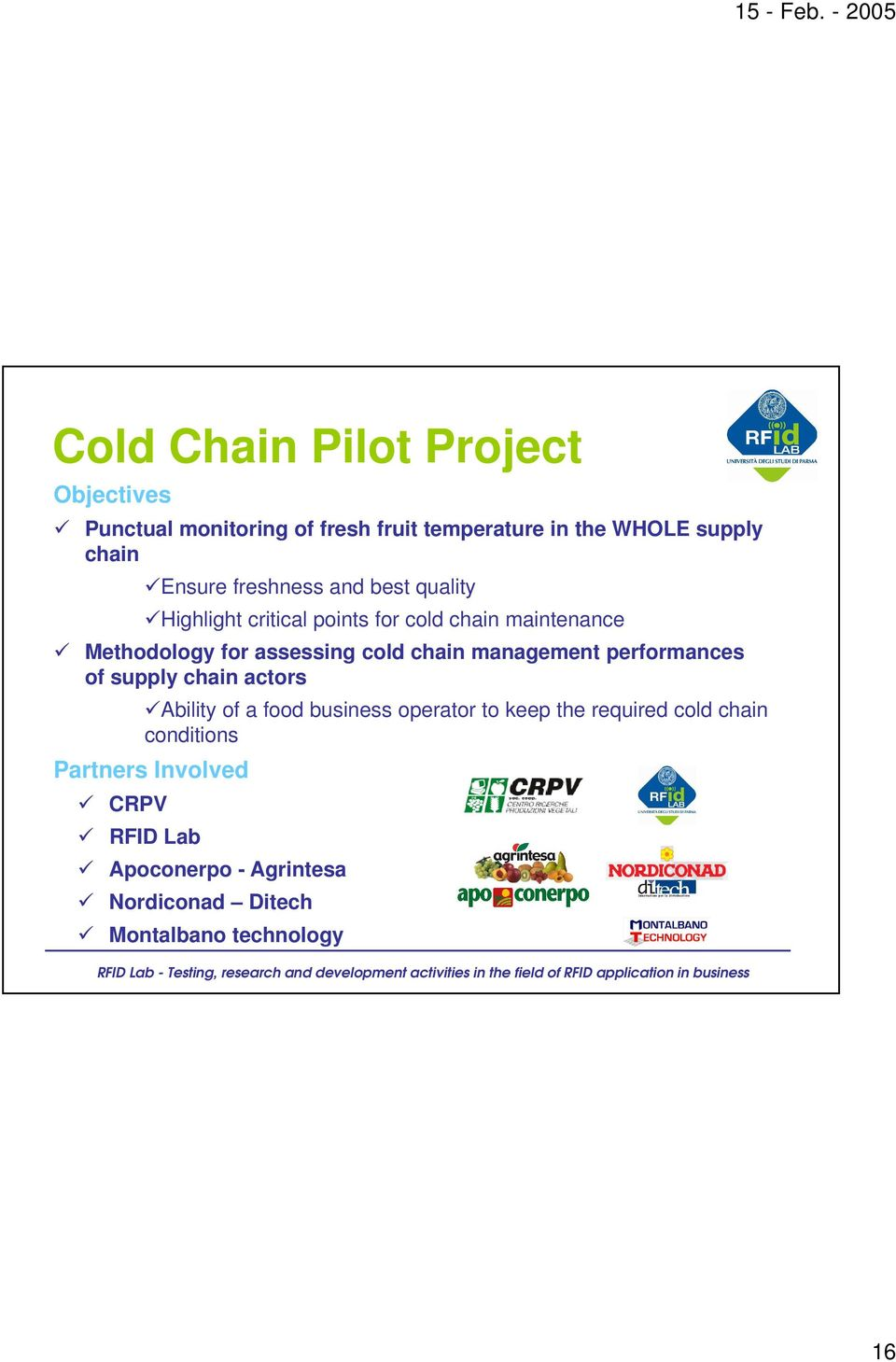 cold chain management performances of supply chain actors Ability of a food business operator to keep the