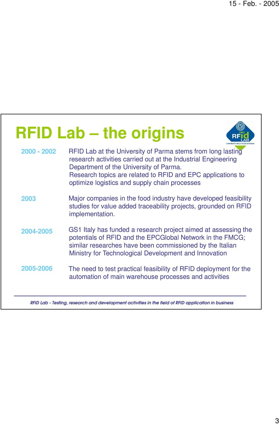 studies for value added traceability projects, grounded on RFID implementation.