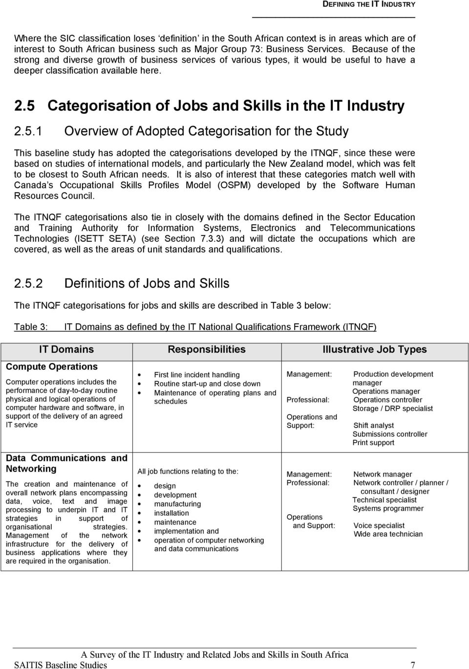 5 Categorisation of Jobs and Skills in the IT Industry 2.5.1 Overview of Adopted Categorisation for the Study This baseline study has adopted the categorisations developed by the ITNQF, since these