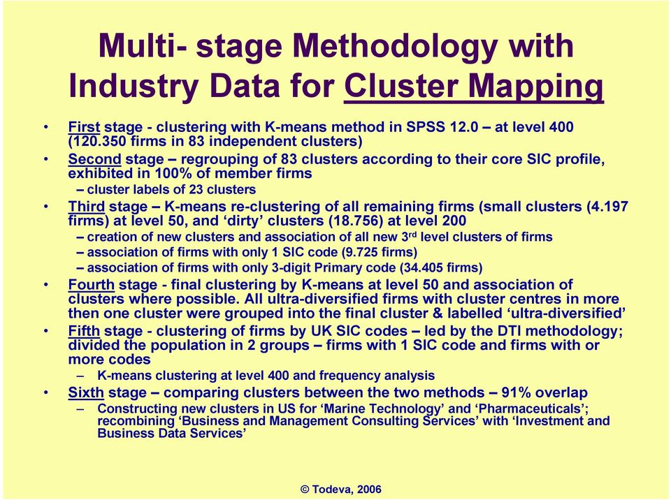 re-clustering of all remaining firms (small clusters (4.197 firms) at level 50, and dirty clusters (18.