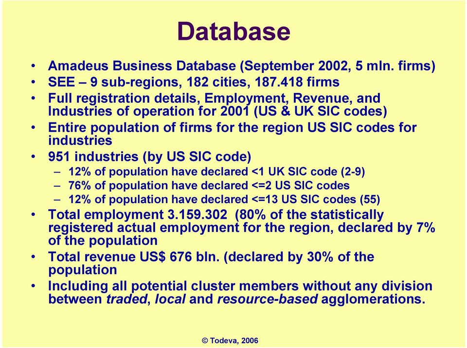 industries (by US SIC code) 12% of population have declared <1 UK SIC code (2-9) 76% of population have declared <=2 US SIC codes 12% of population have declared <=13 US SIC codes (55) Total