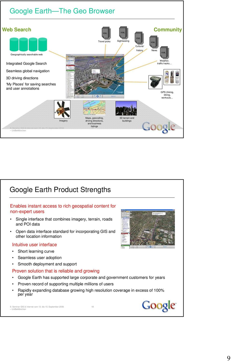 3D terrain and buildings Google Earth Product Strengths Enables instant access to rich geospatial content for non-expert users Single interface that combines imagery, terrain, roads and POI data Open