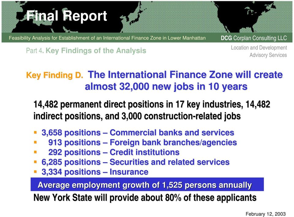 indirect positions, and 3,000 construction-related related jobs 3,658 positions Commercial banks and services 913 positions Foreign bank