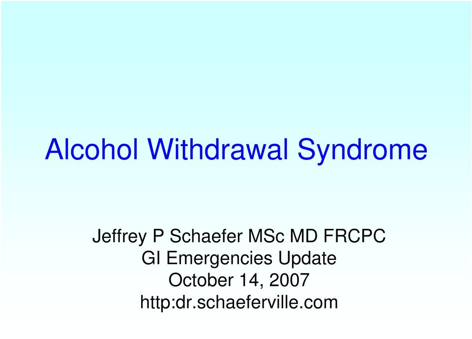 FRCPC GI Emergencies Update