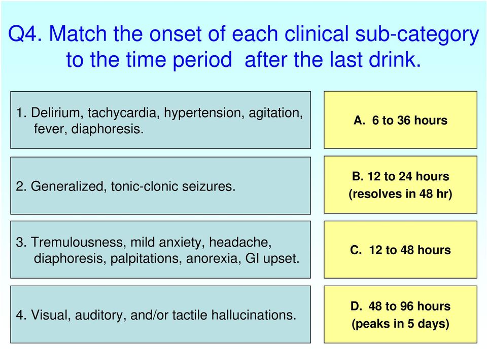 Generalized, tonic-clonic seizures. B. 12 to 24 hours (resolves in 48 hr) 3.