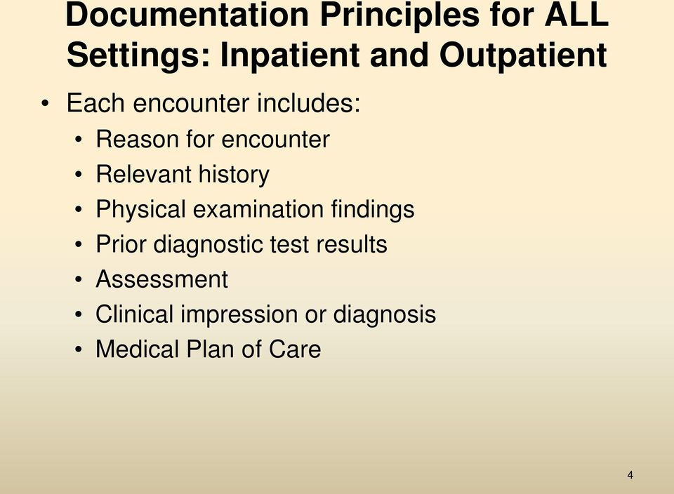 Relevant history Physical examination findings Prior diagnostic