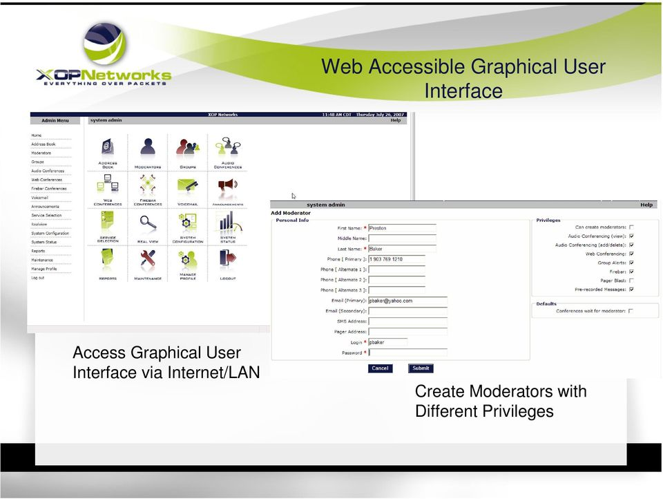 Interface via Internet/LAN